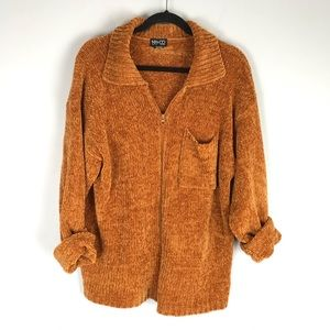 NY & Co chenille zip cardigan sweater burnt orange